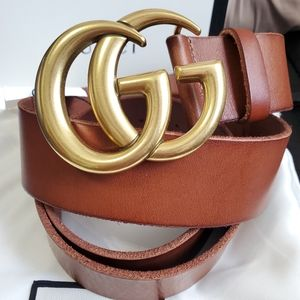 😎Authentic Gucci Marmont Belt Brown Leather Gold